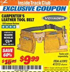 Harbor Freight ITC Coupon CARPENTER'S TOOL BELT Lot No. 41313/63392 Expired: 3/31/20 - $9.99