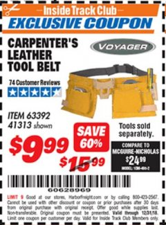 Harbor Freight ITC Coupon CARPENTER'S TOOL BELT Lot No. 41313/63392 Expired: 12/31/18 - $9.99