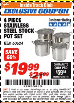 Harbor Freight ITC Coupon 4 PIECE STAINLESS STEEL STOCK POT SET Lot No. 60624 Expired: 7/31/18 - $19.99