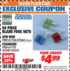 Harbor Freight ITC Coupon 60 PIECE BLADE FUSE SETS Lot No. 61736/67664/67665/61735 Expired: 6/30/20 - $4.99