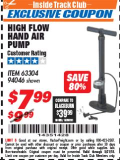 Harbor Freight ITC Coupon HIGH FLOW HAND AIR PUMP Lot No. 63304/94046 Expired: 5/31/18 - $7.99