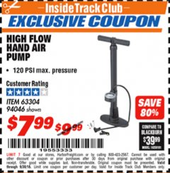 Harbor Freight ITC Coupon HIGH FLOW HAND AIR PUMP Lot No. 63304/94046 Expired: 9/30/18 - $7.99