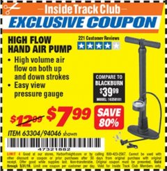 Harbor Freight ITC Coupon HIGH FLOW HAND AIR PUMP Lot No. 63304/94046 Expired: 5/31/19 - $7.99