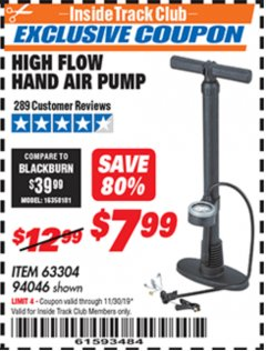 Harbor Freight ITC Coupon HIGH FLOW HAND AIR PUMP Lot No. 63304/94046 Expired: 11/30/19 - $7.99