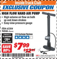 Harbor Freight ITC Coupon HIGH FLOW HAND AIR PUMP Lot No. 63304/94046 Expired: 3/31/20 - $7.99