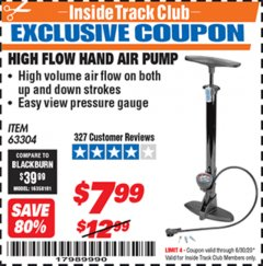 Harbor Freight ITC Coupon HIGH FLOW HAND AIR PUMP Lot No. 63304/94046 Expired: 6/30/20 - $7.99