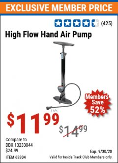 Harbor Freight ITC Coupon HIGH FLOW HAND AIR PUMP Lot No. 63304/94046 Expired: 9/30/20 - $11.99