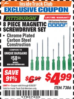 Harbor Freight ITC Coupon 8 PIECE MAGNETIC SCREWDRIVER SET Lot No. 7386 Dates Valid: 12/31/69 - 6/30/20 - $4.99