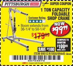Harbor Freight Coupon 1 TON CAPACITY FOLDABLE SHOP CRANE Lot No. 69512/61858/69445 Expired: 11/13/18 - $99.99