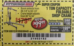 Harbor Freight Coupon 1 TON CAPACITY FOLDABLE SHOP CRANE Lot No. 69512/61858/69445 Expired: 11/18/18 - $99.99