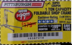 Harbor Freight Coupon 1 TON CAPACITY FOLDABLE SHOP CRANE Lot No. 69512/61858/69445 Expired: 1/4/19 - $99.99