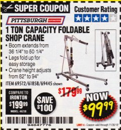 Harbor Freight Coupon 1 TON CAPACITY FOLDABLE SHOP CRANE Lot No. 69512/61858/69445 Expired: 11/30/18 - $99.99
