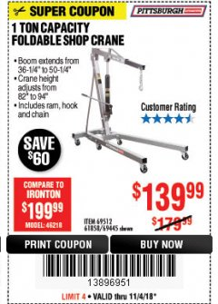 Harbor Freight Coupon 1 TON CAPACITY FOLDABLE SHOP CRANE Lot No. 69512/61858/69445 Expired: 11/4/18 - $139.99