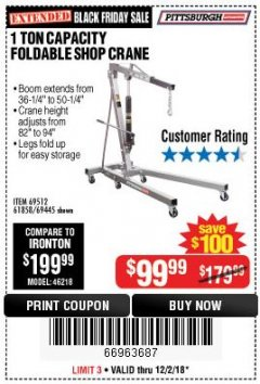 Harbor Freight Coupon 1 TON CAPACITY FOLDABLE SHOP CRANE Lot No. 69512/61858/69445 Expired: 12/2/18 - $99.99