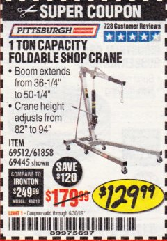 Harbor Freight Coupon 1 TON CAPACITY FOLDABLE SHOP CRANE Lot No. 69512/61858/69445 Expired: 6/30/19 - $129.99
