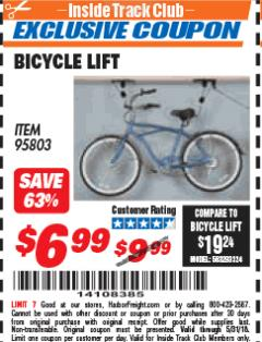 Harbor Freight ITC Coupon BICYCLE LIFT Lot No. 95803 Expired: 5/31/18 - $6.99