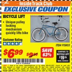 Harbor Freight ITC Coupon BICYCLE LIFT Lot No. 95803 Expired: 9/30/18 - $6.99