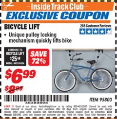 Harbor Freight ITC Coupon BICYCLE LIFT Lot No. 95803 Expired: 5/31/19 - $6.99