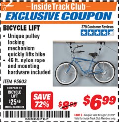 Harbor Freight ITC Coupon BICYCLE LIFT Lot No. 95803 Expired: 1/31/20 - $6.99