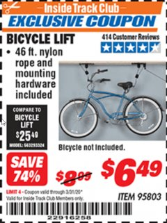 Harbor Freight ITC Coupon BICYCLE LIFT Lot No. 95803 Expired: 3/31/20 - $6.49