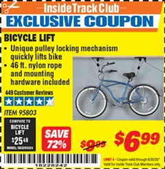 Harbor Freight ITC Coupon BICYCLE LIFT Lot No. 95803 Expired: 6/30/20 - $6.99