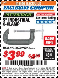 "Harbor Freight ITC Coupon 5"" INDUSTRIAL C-CLAMP Lot No. 62138/39609 Expired: 6/30/18 - $3.99"