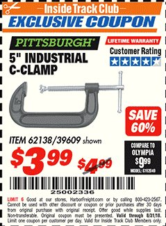 "Harbor Freight ITC Coupon 5"" INDUSTRIAL C-CLAMP Lot No. 62138/39609 Expired: 8/31/18 - $3.99"