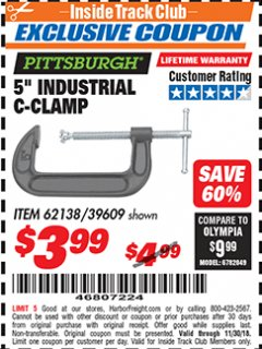 "Harbor Freight ITC Coupon 5"" INDUSTRIAL C-CLAMP Lot No. 62138/39609 Expired: 11/30/18 - $3.99"