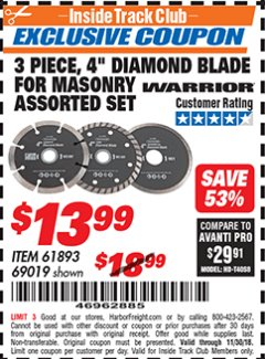"Harbor Freight ITC Coupon 3 PIECE 4"" ASSORTED DIAMOND BLADES FOR MASONRY Lot No. 61893/69019 Expired: 11/30/18 - $13.99"