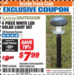 Harbor Freight ITC Coupon 4 PIECE WHITE LED SOLAR LIGHT SET Lot No. 61444/93863 Dates Valid: 12/31/69 - 6/30/20 - $7.99