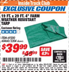 "Harbor Freight ITC Coupon 19 FT. x 29 FT. 4"" FARM QUALITY TARP Lot No. 2204/69200/60460 Expired: 5/31/18 - $39.99"