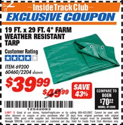 "Harbor Freight ITC Coupon 19 FT. x 29 FT. 4"" FARM QUALITY TARP Lot No. 2204/69200/60460 Expired: 7/31/18 - $39.99"