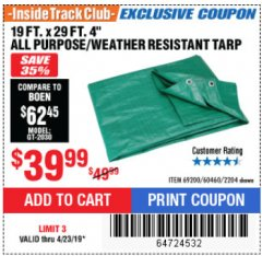 "Harbor Freight ITC Coupon 19 FT. x 29 FT. 4"" FARM QUALITY TARP Lot No. 2204/69200/60460 Expired: 4/23/19 - $39.99"