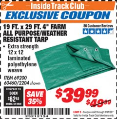 "Harbor Freight ITC Coupon 19 FT. x 29 FT. 4"" FARM QUALITY TARP Lot No. 2204/69200/60460 Expired: 3/31/20 - $39.99"