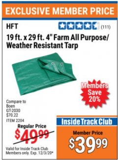 "Harbor Freight ITC Coupon 19 FT. x 29 FT. 4"" FARM QUALITY TARP Lot No. 2204/69200/60460 Valid Thru: 12/3/20 - $39.99"