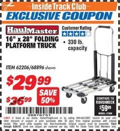 "Harbor Freight ITC Coupon 16"" x 28"" LIGHTWEIGHT FOLDING PLATFORM TRUCK Lot No. 62206/68896 Expired: 6/30/18 - $29.99"