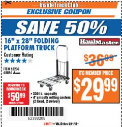"Harbor Freight ITC Coupon 16"" x 28"" LIGHTWEIGHT FOLDING PLATFORM TRUCK Lot No. 62206/68896 Expired: 9/11/18 - $29.99"