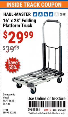 "Harbor Freight ITC Coupon 16"" x 28"" LIGHTWEIGHT FOLDING PLATFORM TRUCK Lot No. 62206/68896 Expired: 8/31/20 - $29.99"