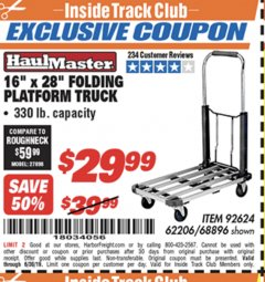 "Harbor Freight ITC Coupon 16"" x 28"" LIGHTWEIGHT FOLDING PLATFORM TRUCK Lot No. 62206/68896 Expired: 6/30/19 - $29.99"
