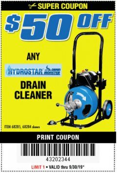 Harbor Freight PERCENT Coupon 50 FT. ELECTRIC DRAIN CLEANER Lot No. 68285/61856 Expired: 9/30/19 - $0