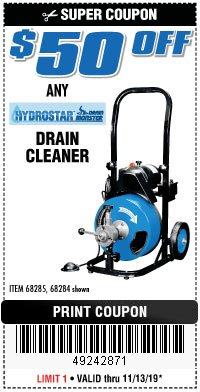 Harbor Freight Coupon 50 FT. ELECTRIC DRAIN CLEANER Lot No. 68285/61856 Expired: 11/13/19 - $0