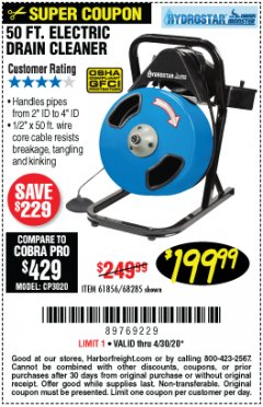 Harbor Freight Coupon 50 FT. ELECTRIC DRAIN CLEANER Lot No. 68285/61856 Valid Thru: 4/30/20 - $199.99
