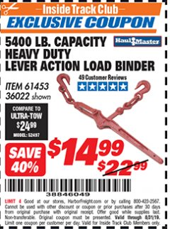 Harbor Freight ITC Coupon 5400 LB. CAPACITY HEAVY DUTY LEVEL ACTION LOAD BINDER Lot No. 61453/36022 Expired: 8/31/19 - $14.99