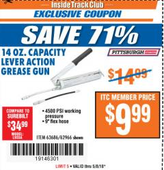 Harbor Freight ITC Coupon LEVER ACTION GREASE GUN Lot No. 63686/62966 Expired: 5/8/18 - $9.99