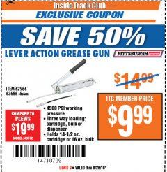 Harbor Freight ITC Coupon LEVER ACTION GREASE GUN Lot No. 63686/62966 Expired: 8/28/18 - $9.99