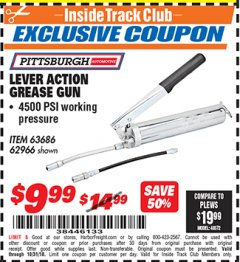 Harbor Freight ITC Coupon LEVER ACTION GREASE GUN Lot No. 63686/62966 Expired: 10/31/18 - $9.99