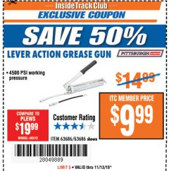 Harbor Freight ITC Coupon LEVER ACTION GREASE GUN Lot No. 63686/62966 Expired: 11/13/18 - $9.99