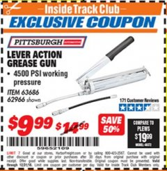 Harbor Freight ITC Coupon LEVER ACTION GREASE GUN Lot No. 63686/62966 Expired: 12/31/18 - $9.99