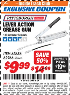 Harbor Freight ITC Coupon LEVER ACTION GREASE GUN Lot No. 63686/62966 Expired: 4/30/19 - $9.99
