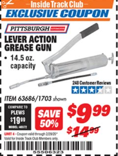 Harbor Freight ITC Coupon LEVER ACTION GREASE GUN Lot No. 63686/62966 Valid: 2/1/20 - 2/29/20 - $9.99